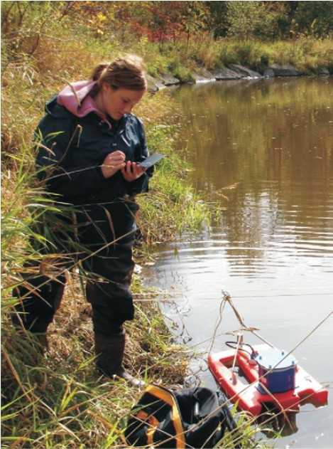 Acoustic Doppler Current Profiler (ADCP) at streambank