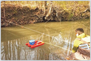 Acoustic Doppler Current Profiler (ADCP) measuring stream velocity